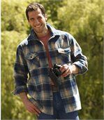 Men's Checked Fleece Overshirt - Beige Navy Blue - Highlands Forest preview2