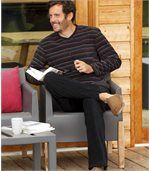 Men's Ultra-Comfortable Microfleece Pyjama - Bordeaux Black