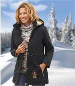 Women's Black Microtech Parka Coat - Atlas For Women preview3