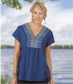 Women's Blue V-Neck Blouse - Patterned Neckline preview1
