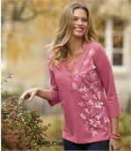 Henley-Shirt mit Blumenaufdruck