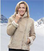 Women's Ecru Faux Suede Jacket preview2