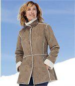 Kabát z umělého semiše a umělého beránka preview2