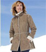 Women' Light Brown Coat - Faux Suede Sherpa Lining preview2