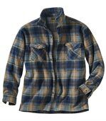 Men's Checked Fleece Overshirt - Beige Navy Blue - Highlands Forest preview3