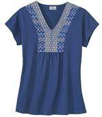 Women's Blue V-Neck Blouse - Patterned Neckline preview2