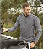 Pack of 2 Men's Zip-Up Polo Shirts - Grey Black