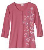 Kvetinové tričko s tuniským golierom