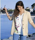 Women's Cream Lace-Up Summer Jacket