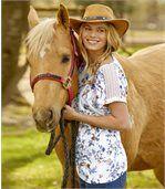 Tričko skvetinovou potlačou a makramé