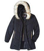 Dlhá prešívaná bunda skožušinkovou kapucňou
