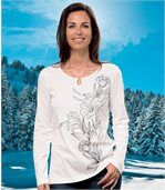Women's White Long Sleeve Top - Floral Motif preview1