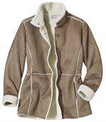 Kabát z umělého semiše a umělého beránka preview3