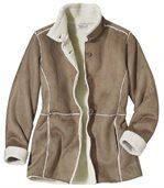 Women' Light Brown Coat - Faux Suede Sherpa Lining preview4