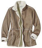 Women' Light Brown Coat - Faux Suede Sherpa Lining preview3
