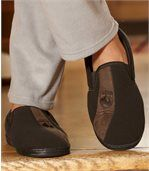 Men's Brown Fleece-Lined Slippers preview2