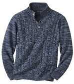 Men's Blue Cable-Knit Buttoned Collar Jumper preview2