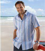 Krepová košeľa v azúrových farbách preview1