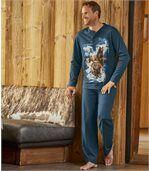 Men's Indigo Blue Polar  Bear Pyjama Set