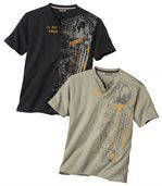 Pack of 2 Men's Button Collar T-Shirts - Beige Black