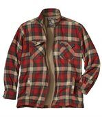 Men's Checked Trapper Jacket - Flannel with Sherpa Lining