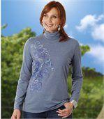 Women's Blue Roll-Neck Jumper - Floral Motif preview1