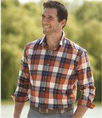 Men's Stylish Long Sleeve Checked Shirt - Orange Navy Ecru preview1