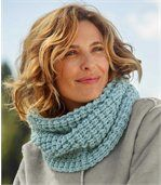 Women's Blue Tube Scarf -Knitted preview1