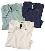 Set van 3 T-shirts met knopenhals preview1