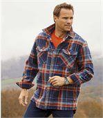 Men's Checked Outdoor Polar Fleece Shirt - Navy Orange