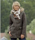 Women's Brown Parka with Faux Fur Hood preview2