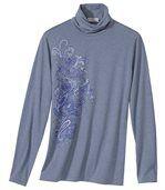 Women's Blue Roll-Neck Jumper - Floral Motif preview2