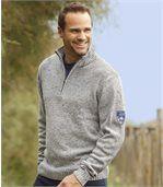 Men's Grey Half Zip Jumper - with Wool preview1