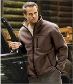 Men's Brown Fleece Jacket with Sherpa Lining preview1