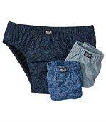 Pack of 3 Men's  Comfort Briefs - Blue Black Grey