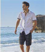 Men's White Short-Sleeved Aviator Shirt preview2