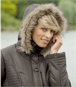 Women's Brown Parka with Faux Fur Hood preview3