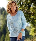 Women's Blue Tie Dye T-Shirt - Floral Motif preview1