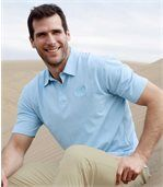 Pack of 3 Men's  Beach Polo Shirts - Blue Grey