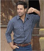 Men's Navy Country Western Checked Shirt preview3