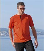 Pack of 3 Men's Button-Neck T-Shirts - Red White Black preview3