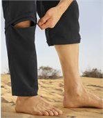 Men's Black 2-in-1 Convertible Microfibre Trousers