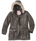 Women's Brown Parka with Faux Fur Hood preview4