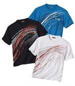 Pack of 3 Men's Sport Summer T-Shirts - Blue Black White
