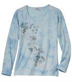 Longsleeve mit Blumendekor im Batik-Look preview2