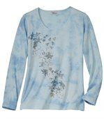 Women's Blue Tie Dye T-Shirt - Floral Motif preview2