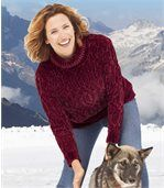 Chenille-Pullover mit Zopfmuster preview1