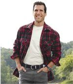 Men's Thick Checked Fleece Shirt – Red Ecru Black preview1