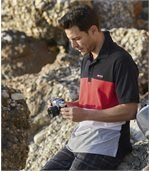 Men's Sporty Piqué Polo Shirt - Black Red White Grey preview2