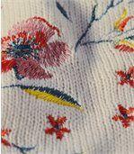 Dlhý pletený pulóver s výšivkou preview3